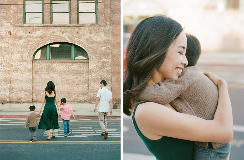 diptych of mother hugging son and smiling and family crossing the street from behind and holding hands