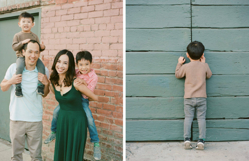 diptych of young boy peaking through a door from behind and family smiling at camera