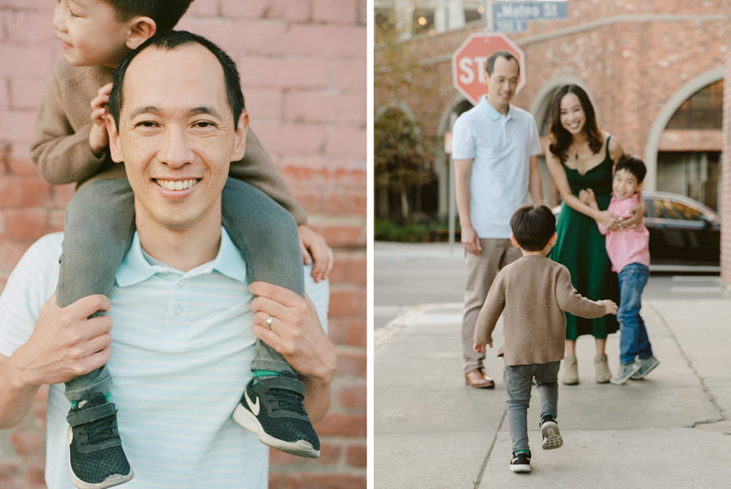 diptych of dad with son on shoulders and kids running to smiling parents