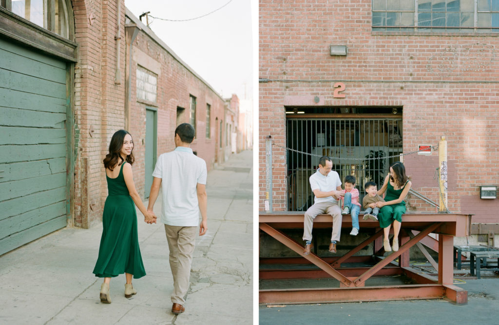 diptych of couple walking away and family of four playing with a city baclground